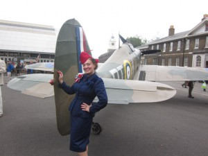 Me in my French 1940s suit by the Hurricane Stage!