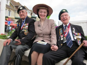 Fiona Harrison in Arromanches with the Veterons