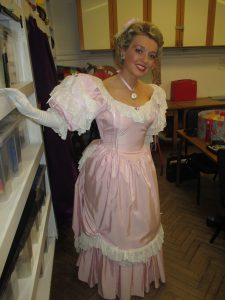 Backstage in my Pink Bustle Gown!