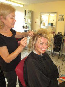 Angela Hard at Work on My Hair!