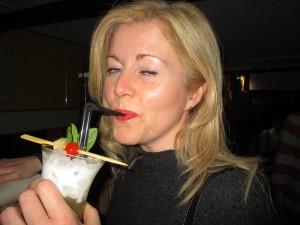 My friend Kim Enjoying her Cocktail!