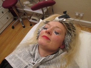 Having an Eye-lash Tint!