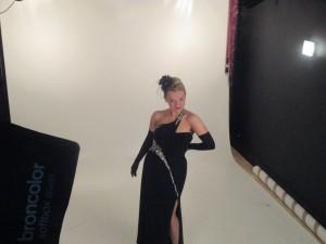 Fiona Harrison looking glamorous on set