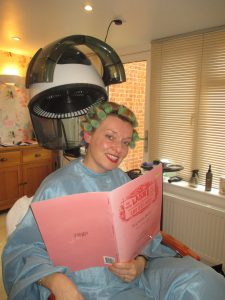 Under the Dryer as I Go Over My Words for Lakme'!