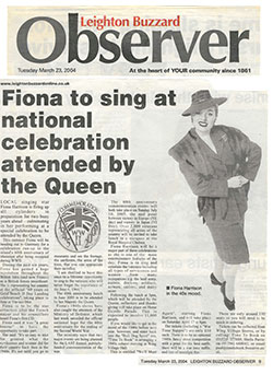 Observer Fiona to Sing for the Queen June 2004
