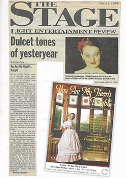 The Stage Dulcet Tones of Yesteryear 21st May 1990 newspaper cutting