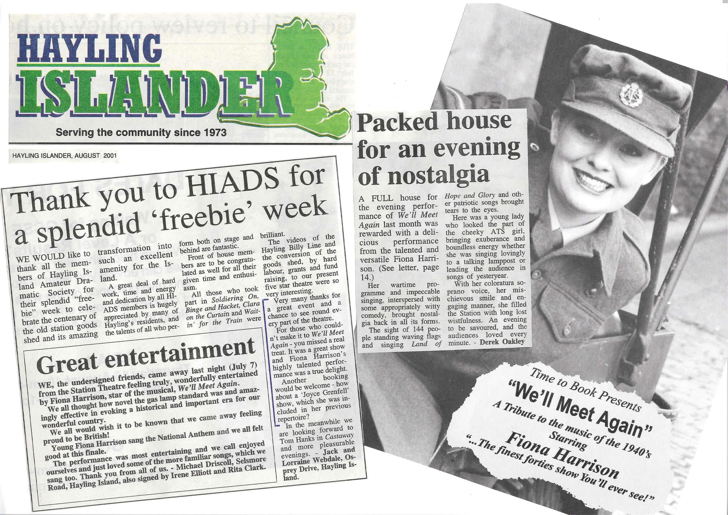 Hayling Islander Thank you Hiads Aug 2001
