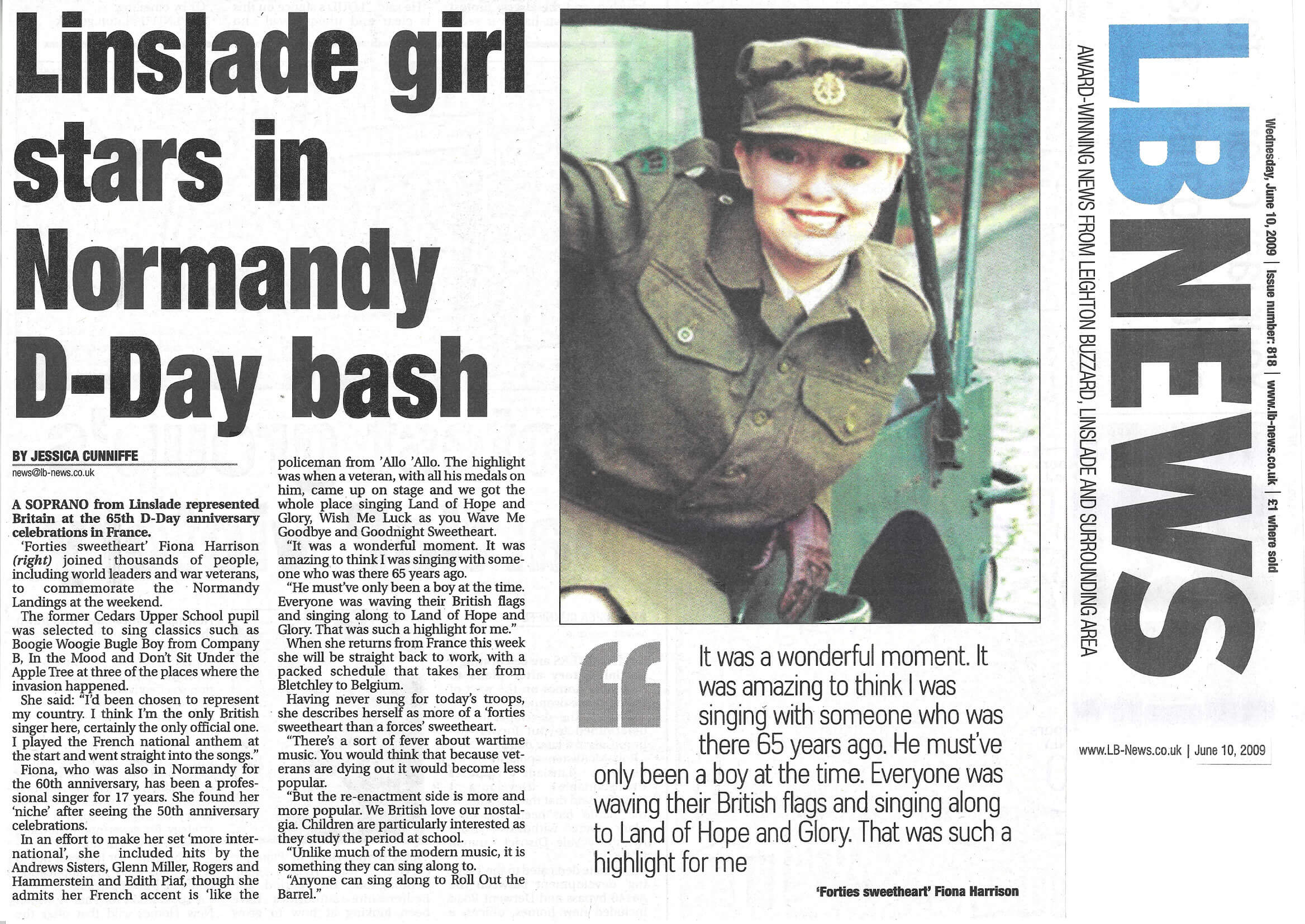 LB News Linslade Girl Stars in Normandy D Day Bash June 09
